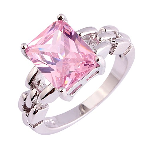 Veunora 925 Sterling Silver Princess Cut Pink Topaz Filled Engagement Ring for Women Size 8 ()