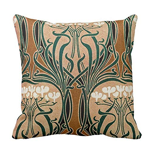 Throw Cushion Pillow Covers Art Nouveau Design Floral (Two Sides) Comfortable Material Size: 18x18 Inch Pillowcase for Bed Chair Car Sofa