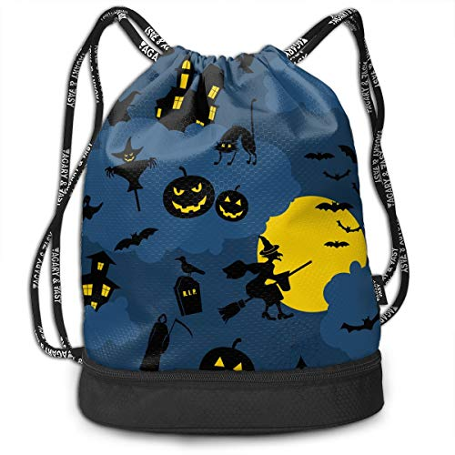 Girls & Boys Drawstring Bag Theft Proof Lightweight Beam Bag, School Tote Cinch Sack - Party Pumpkin Water Resistant Backpack Soccer Basketball Bag ()