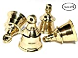 AzKrafts Decorative Indian Brass Bells Heavy Duty Solid Brass 1.6 inch, 2 inch, 2.3 inch and 2.6 inch Bells (1.6 inch, 6 pack)