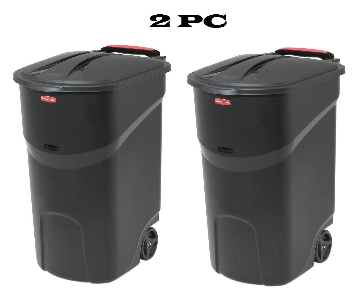 Home & Comforts 2 pc 45 Gallon Wheeled Trash can Garbage Container Outdoor Plastic Waste bin Basket Black - Trash can with lid - Kitchen Trash can - Outdoor Trash can for Patio Camping Trash can.