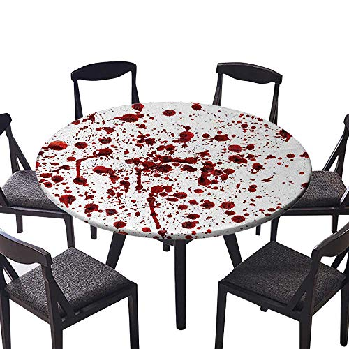 Round Polyester Tablecloth Table Cover of Blood Style Bloodstain Horror Scary Zombie Halloween Themed Print Red White for Most Home Decor 67