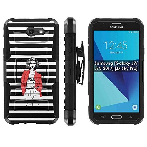 (TalkingCase Phone Case for SamsungGalaxy (J7 2017) (J727),Perx,Sky Pro,J7V [2017],Halo-Cricket,Prime,Black-Black Premium Dual Layer Armor Case,Red Coat Girl Stripes Print, Design in USA)