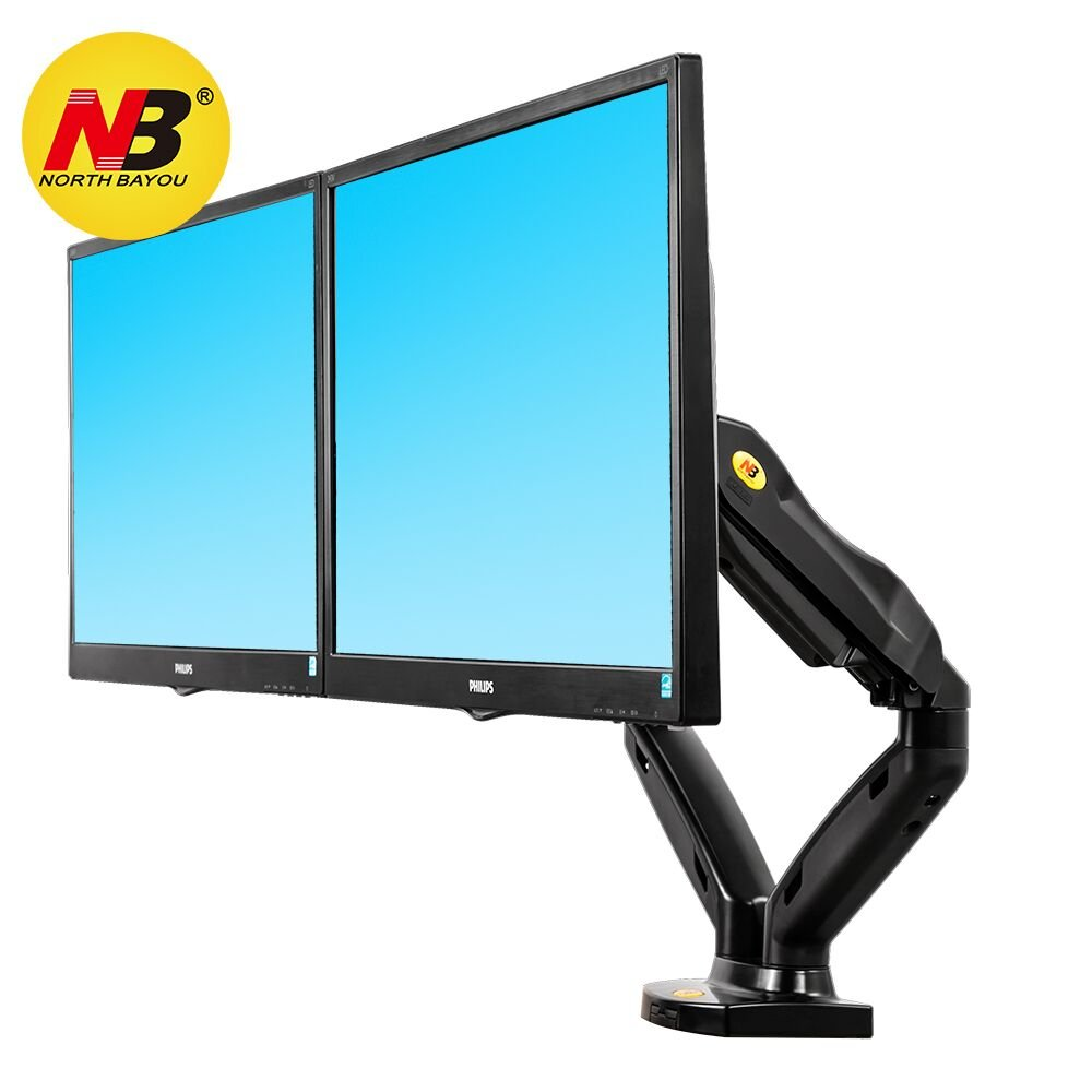 North Bayou Dual Monitor Desk Mount Stand Full Motion Swivel Computer Monitor Arm Gas Spring fits 2 Screens up to 27'' 14.3lbs Each Monitor