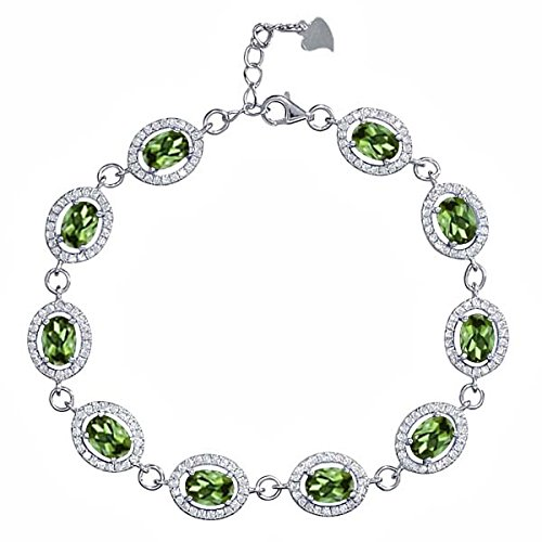 Gem Stone King 11.38 Ct Oval Green Tourmaline 925 Sterling Silver 7.5 inches Bracelet by Gem Stone King
