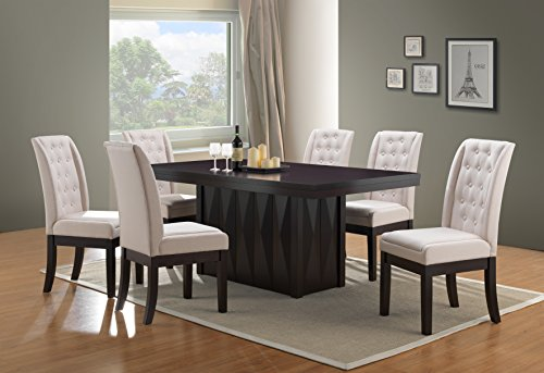 Kings Brand Furniture 7-Piece Rectangular Dinette Dining Room Set, Table & 6 Chairs, Beige - 6 Piece Dining Room Furniture