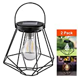 Solar Lanterns Outdoor Hanging - Sunwind LED Garden Table Lamps Solar Powered Edison Filament Bulbs for Patio Backyard Courtyard Lawn Landscape Decor (A60 Filament Bulb)