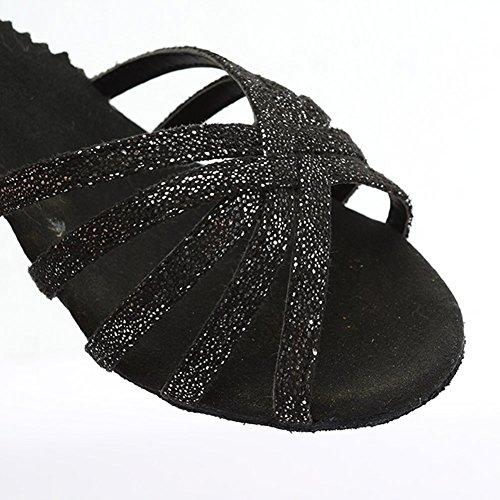 Negro MF1810 Talón Mujer Modelo Zapatos Latino Puntas Baile de Abiertas Brillante salón 5cm 6 de HIPPOSEUS Fqvnd6w6C