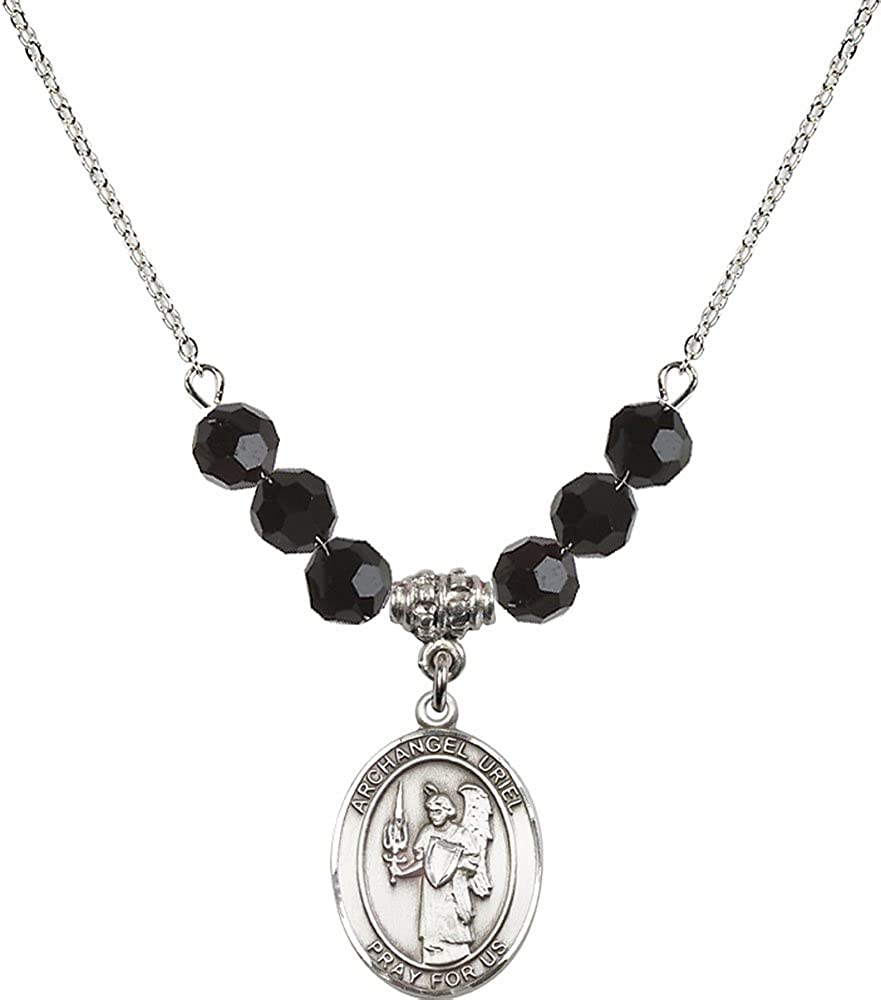 18-Inch Rhodium Plated Necklace with 6mm Jet Birthstone Beads and Sterling Silver Saint Uriel the Archangel Charm.