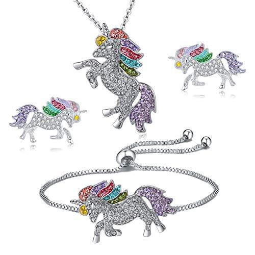 - 4MEMORYS Rainbow Unicorn Jewelry Set Including Pendant Necklace,Earrings,Bracelet Rhinestone Crystal Rhodium Plated Women Girls Gift