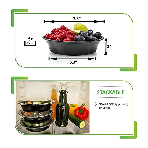 Large Product Image of 30 Meal Prep Containers Reusable - Disposable Food Containers Meal Prep Bowls - Plastic Containers with lids - Plastic Food Storage Containers with Lids - Lunch Containers for adults to go Containers