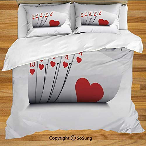 Poker Tournament Decorations King Size Bedding Duvet Cover Set,Royal Flush Playing Cards Hearts Betting Bluff Gambling Decorative Decorative 3 Piece Bedding Set with 2 Pillow Shams,Red and White