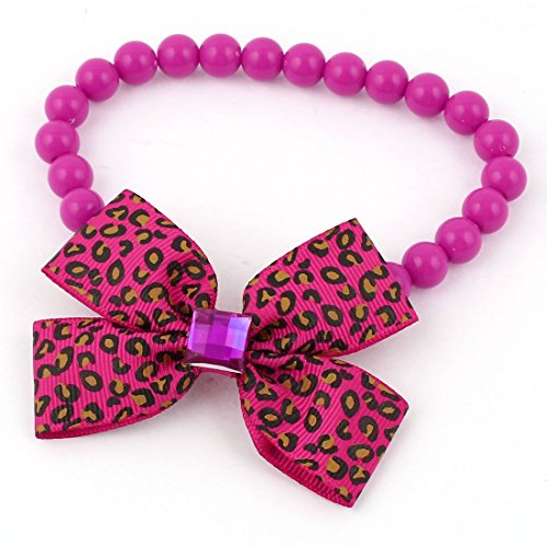 Uxcell Round Beads Faux Crystal Bowtie Accent Pet Collar, X-Small, Fuchsia