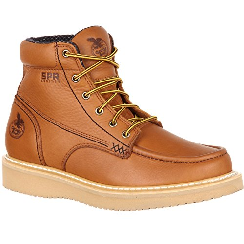 Georgia Men's Wedge Steel Toe Work Boots, Brown, SPR Leather, Polyurethane, 9.5 (Brown Spr Leather)