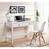 Homestar Z1611054 Desk with 2 Drawers - White, White