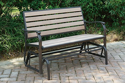Advanced Furniture Outdoor Patio Swing Glider Loveseat Bench with an aluminum frame and a resin wood (Aluminum Loveseat Bench)