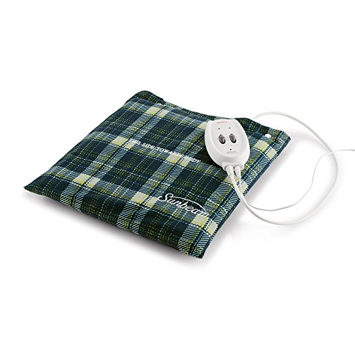 Heat Plus Massager Heating Pad - Sunbeam Flexi-Soft Massaging Heating Pad, 2 Heat/Massage Settings, 1-Hour Auto-Off, 12