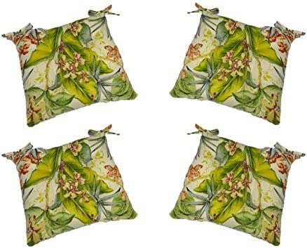 Set of 4 – In Outdoor Tommy Bahama Pink Green Tropical Floral Universal Tufted Seat Cushions w Ties for Dining Patio Chairs – Choose Size 16 x 16