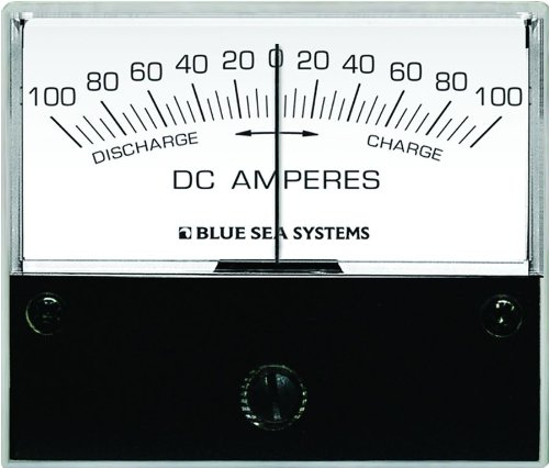 Blue Sea 8253 DC Zero Center Analog Ammeter (2 3/4-Inch Face, 100-0-100 Amperes - Dc Analog Blue Sea