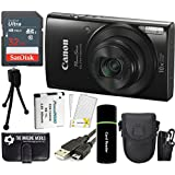 CanonPowerShot ELPH 190 IS 20.2MP 10x Zoom Wi-Fi Digital Camera (Black) + SanDisk 32GB Card + Reader + Spare Battery + Case + Accessory Bundle