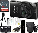 Canon PowerShot ELPH 190 IS 20.2MP 10x Zoom Wi-Fi Digital Camera (Black) + SanDisk 32GB Card + Reader + Spare Battery + Case + Accessory Bundle