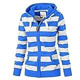 URIBAKE ❤ Women's Hooded Coat Autumn Winter Striped Zipper Tops Pockets Hoodie Sweatshirt Coat Jacket Casual Slim Jumper