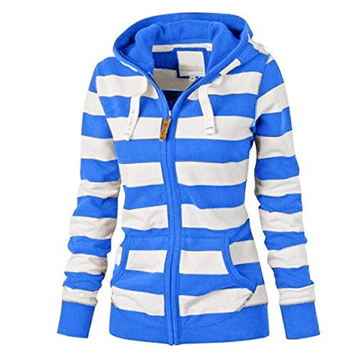 (NEARTIME Womens Plus Size Coat, New Ladies Striped Zipper Hooded Sweatshirt Winter Slim Pocket Jacket Blue)