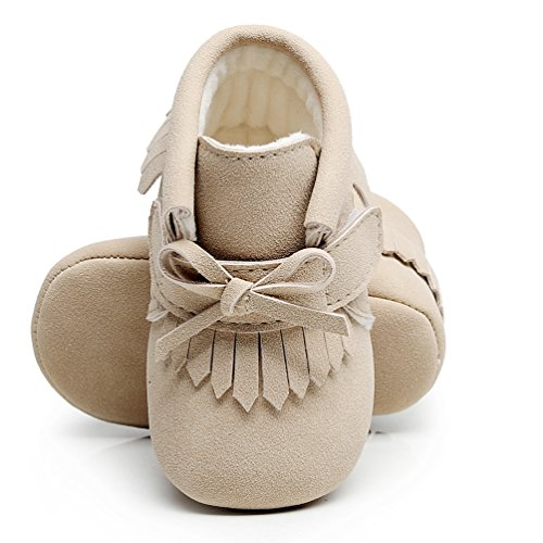 (HONGTEYA Bow Fringe Winter Warm with Fur Baby Boots Pu Leather Baby Girls Princess Shoes Soft Sole Baby Boots (US6M 12-18Months 13cm 5.12