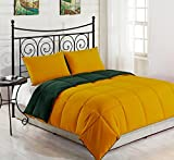 Superbeddings 3-Piece Reversible Goose Down Alternative Comforter Set   Color: Yellow / Hunter Green   Size : KING   2 Tone Comforter Set   (1 comforter, 2 Pillowcases included)   Crafting : Quilted