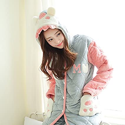 MH-RITA Tres capas de franela pijamas, mujer de invierno del engrosamiento y cachemir