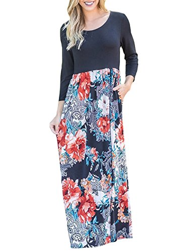 WEANIA Women's Maxi Dress Floral Printed Summer Scoop Neck Casual Dress Elastic Wrist 3/4 Sleeve Tunic Dress for Women (Black, (Scoop Neck Jersey Knit Dress)