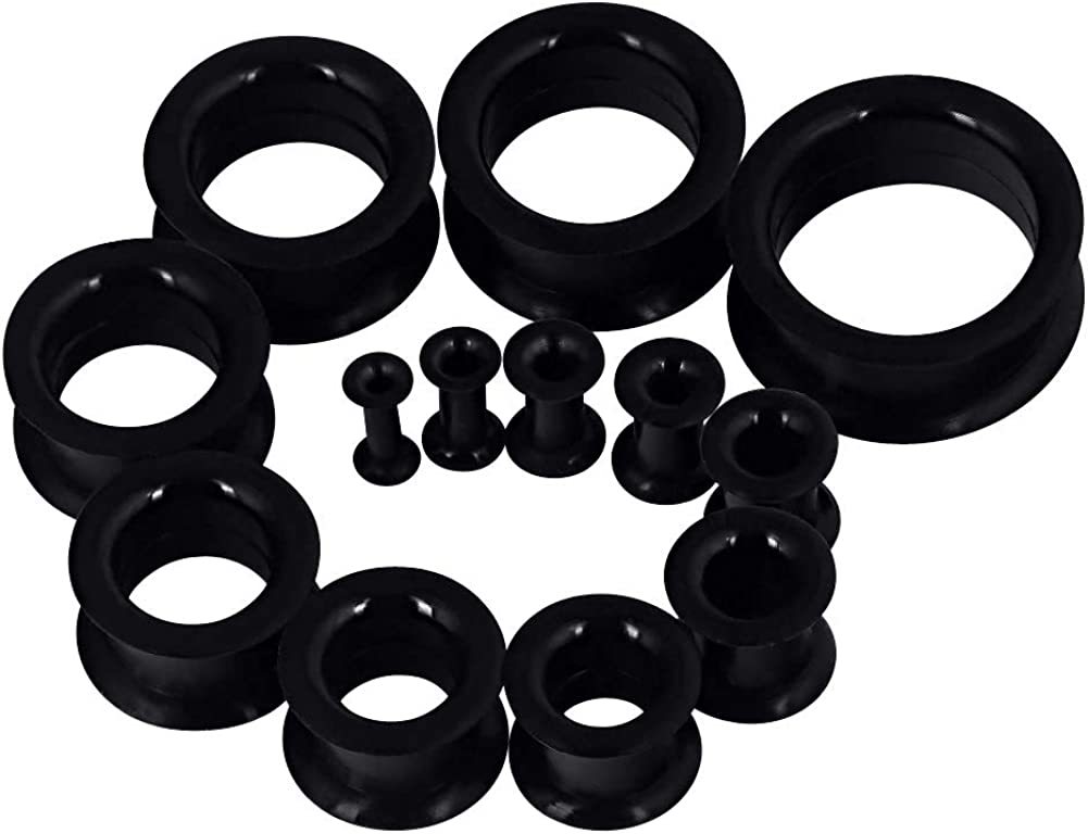 """Qmcandy Thick Silicone Hollow Flexible Ear Tunnels Kit Stretching Set for 26pcs 8G-1"""""""
