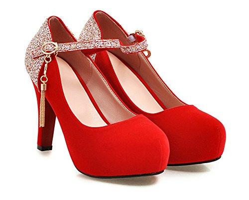 Aisun Cheville Rouge Paillettes Femme Escarpins Sexy Bride rwOxB4r6Cq