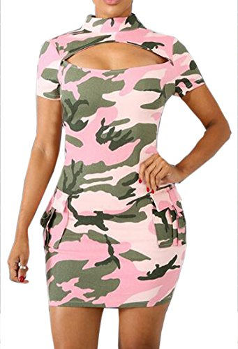 Dresses Cromoncent Bodycon Short Womens Mini Camouflage Sexy Sleeve Pink Printed Cut Out qB6Tvq