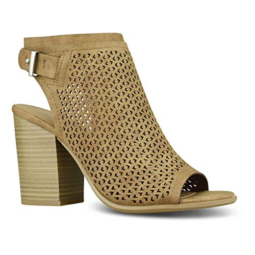 MODEOK Women's Cut Out Strappy Bootie - Slip On Low Stacked Heel - Open Peep Toe Cutout Shoe (Womens Ultra Tall Sand)