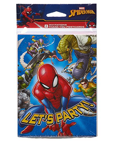 American Greetings Spider Man Invite and Thank-You Combo Pack, 8-Count]()