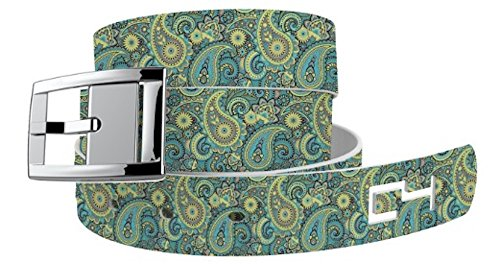 C4 Belts Paisley Seafoam Classic Womens Belt with Silver Buckle - Fashion Belt for Women - Waist Belt - For Dresses Active Lifestyle -