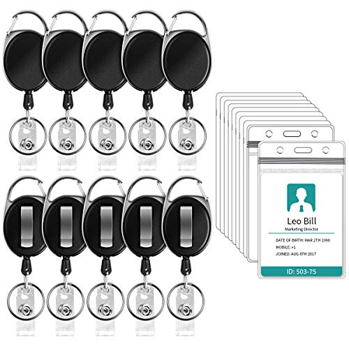 Puroma 10 Pack Retractable Badge Carabiner Reel with for sale  Delivered anywhere in USA