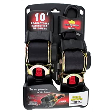 Erickson 34416 Pro Series Black 2  x 10' Retractable Ratcheting Tie-Down Strap
