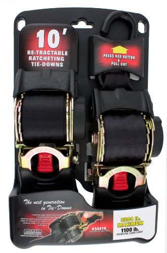 Retractable Ratchet Tie Downs - Erickson 34416 Pro Series Black 2