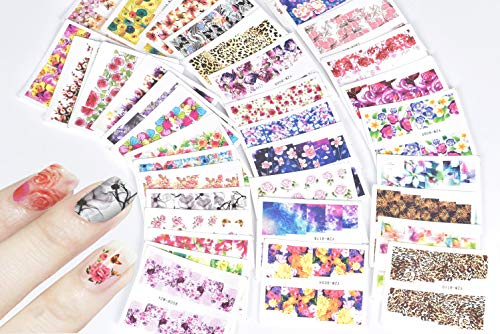 JACA 54 Sheets Water Transfer DIY Nail Art Decals Stickers With Butterfly flower Animal Insect beauty girl cartoon and different patterns for women and kids