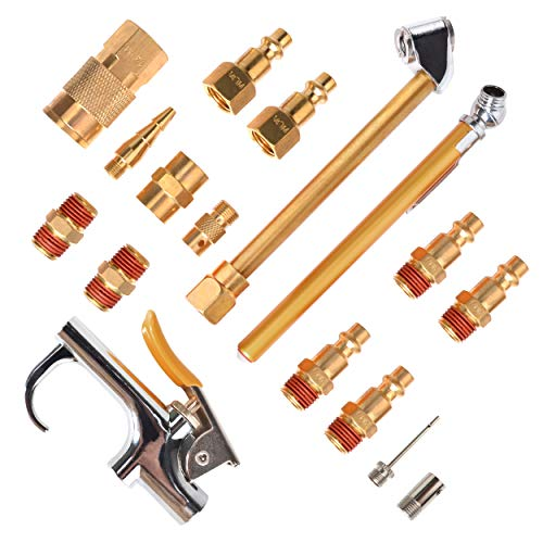 PowRyte Elite 17-Piece Air Hose Fittings 1/4' NPT Air Compressor Accessory Kit with Blow Gun, Air Chucks, Inflation Needles and Brass Fittings