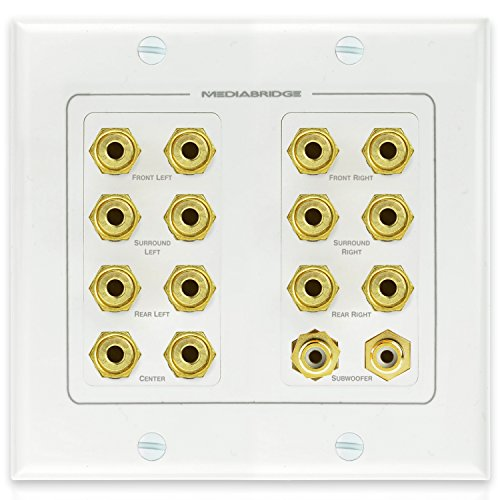 Mediabridge Speaker Wall Plate w/Binding Posts (7 Pair) & RCA (2 Ports) - Limited TIME Offer: Free Mounting Bracket (2-Gang) - 2-Piece Inset Wall Plate for 7.1/7.2 Surround Sound (Part# WP2-B7/S2)