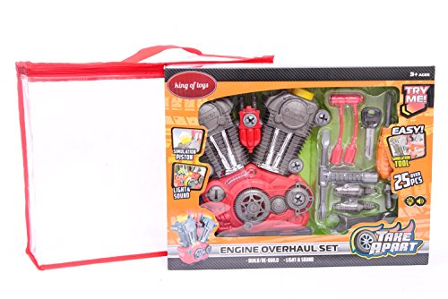 """King Of Toys Educational Build-Your-Own Engine Over 25 Piece Play Set Kit with LIGHT'S & SOUNDS (Build & Re-build) """"Special KID'S SAFE Storage Bag"""" to protect from loosing pieces included."""