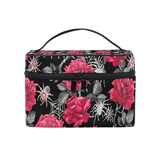 Makeup Cosmetic Bag Red Rose Flower Pattern Spider Net Grey Portable Travel Train Case Toiletry Bags Organizer Multifunction Storage