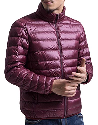 EKU Men's Fashion Light Zipper Packable Puffer Down Jacket Coat US XL Wine Red