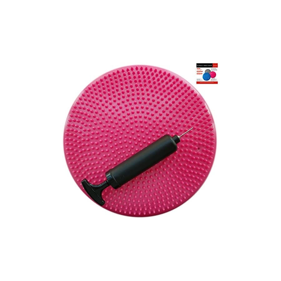 AppleRound Air Stability Wobble Cushion, Pink, 35cm/14in Diameter, Balance Disc, Pump Included