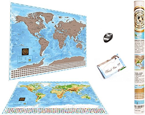 Deluxe Scratch Off World Map Mark Your Trips Premium Quality Sratch Off Map Us States Country