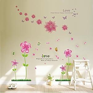 Bago lovely pink petal flowers butterflies wallpaper for living bago lovely pink petal flowers butterflies wallpaper for living room bedroom removable home wall decalswall stickers muralswall dcorwallpops mightylinksfo