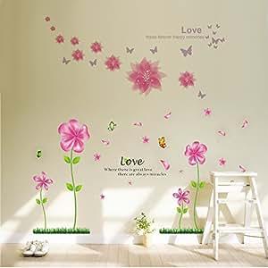 Colorido calcoman as rosa flores de p talos mariposas - Calcomanias para paredes ...